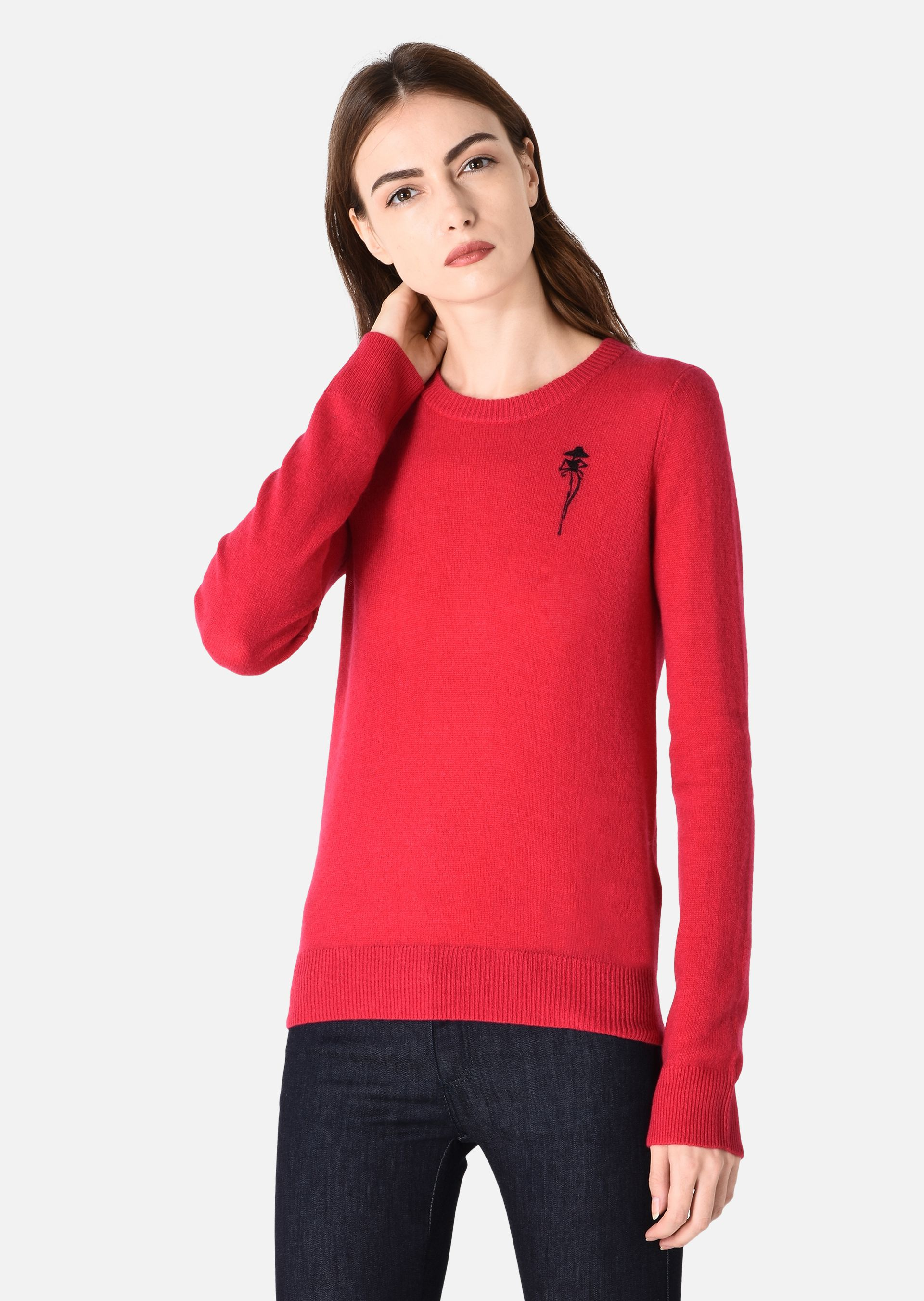 CASHMERE SWEATER WITH MAQUETTE EMBROIDERY for Women | Emporio Armani