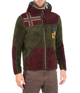 NAPAPIJRI YUPIK HOOD MAN FLEECE,MILITARY GREEN