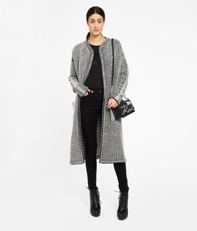 KARL LAGERFELD LONG WOOL BOUCLÉ CARDIGAN
