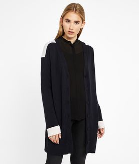 KARL LAGERFELD COLOR BLOCK CASHMERE CARDIGAN