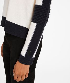 KARL LAGERFELD COLOR BLOCK CASHMERE SWEATER
