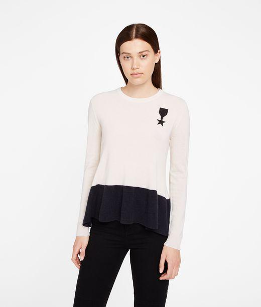 KARL LAGERFELD Cashmere Peplum Detail Sweater 12_f