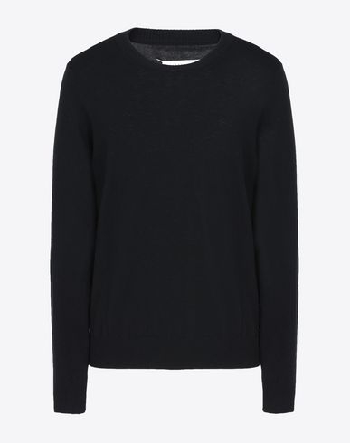 MAISON MARGIELA Crewneck sweater U Wool sweater with calfskin elbow patches f