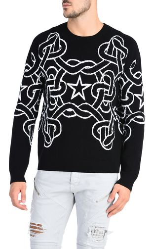 JUST CAVALLI Maglia collo a giro Uomo Pullover dragone all over f