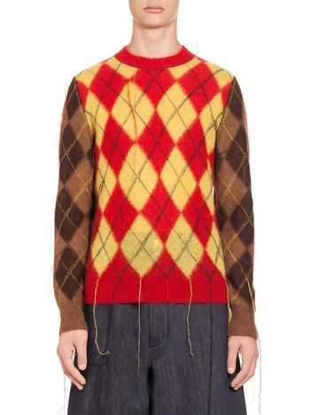 Marni Crewneck sweater in mohair with lozenge pattern Man
