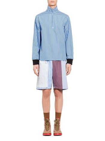Marni Patchwork bomber jacket in pinstriped cotton Woman