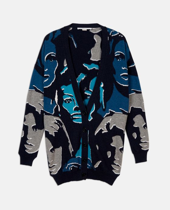 Faces Print V-Neck Cardigan