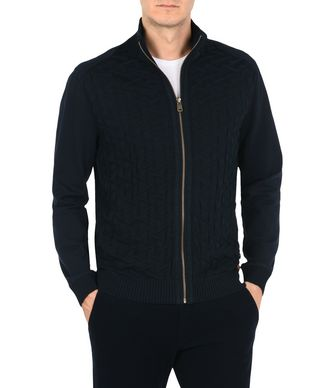 NAPAPIJRI DECE FULL ZIP MAN HIGH NECK SWEATER,DARK BLUE