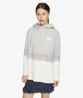 KARL LAGERFELD CABLE SWEAT MIX HOODIE