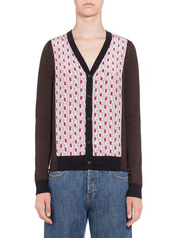 Marni Cardigan in wool with silk inserts Woman