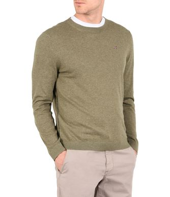NAPAPIJRI DECATUR CREW NECK MAN CREWNECK SWEATER,MILITARY GREEN