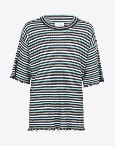 MAISON MARGIELA Crewneck sweater U Stripe flax T-shirt f