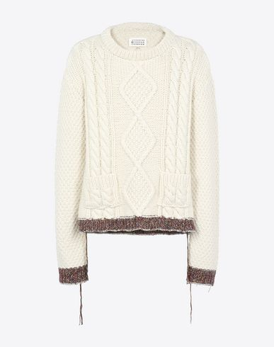 MAISON MARGIELA Crewneck sweater U Hand made cable knit sweater f