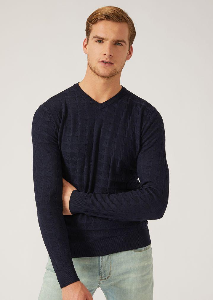 94587400eb8e Plain knit jumper with all-over logo pattern   Man   Emporio Armani