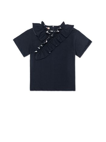 Marni BLUE COTTON TOP WITH ASYMMETRICAL RUCHES AT THE NECK Woman
