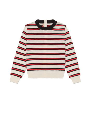 Marni STRIPED WOOL JUMPER WITH REAR BUTTON FASTENING Woman