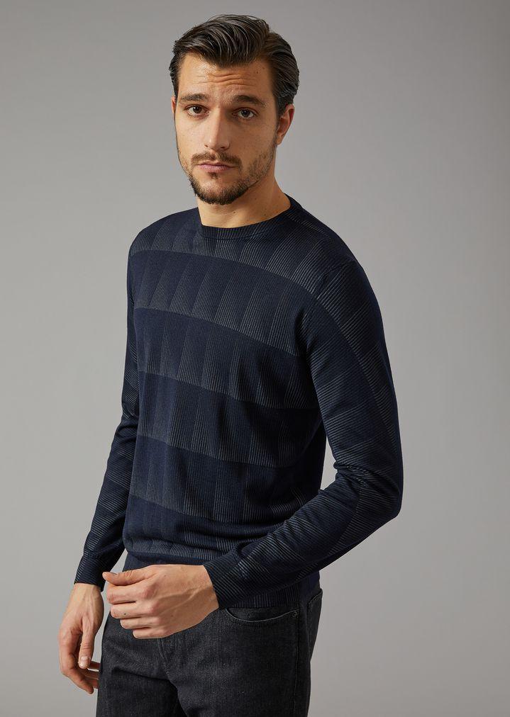 bf611e29 Wool and Silk Cut-Square Jumper | Man | Giorgio Armani