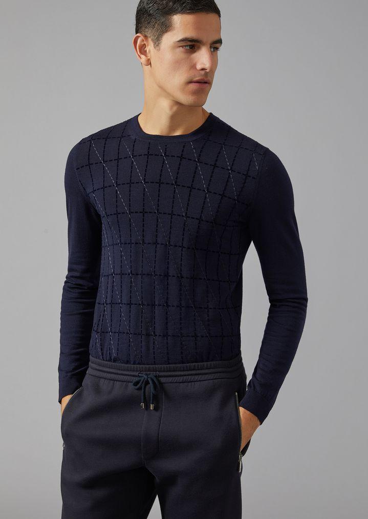 6373970490f1 Wool Sweater with Cut-Square Flocked Print   Man   Giorgio Armani