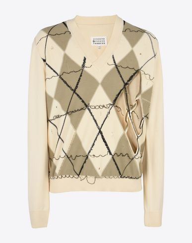 MAISON MARGIELA Long sleeve sweater U Deconstructed argyle sweater f