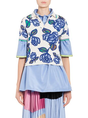 Marni Polo-shirt in viscose with floral pattern Woman