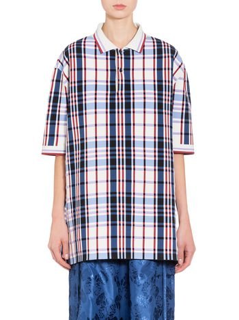 Marni Over-sized Polo-shirt in viscose with bi-colored piping Woman