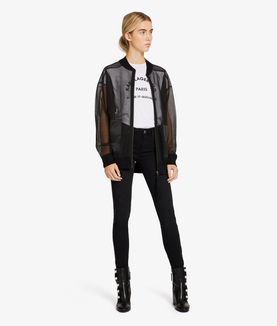 KARL LAGERFELD SHEER ZIP BOMBER JACKET