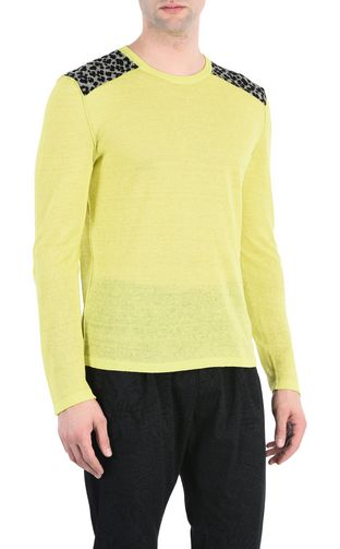 JUST CAVALLI Long sleeve sweater Man Pullover with leopard-skin patches f
