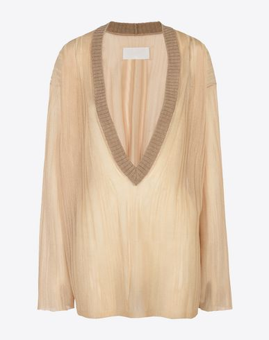 MAISON MARGIELA Transparent metallic V-neck sweater Long sleeve sweater Woman f