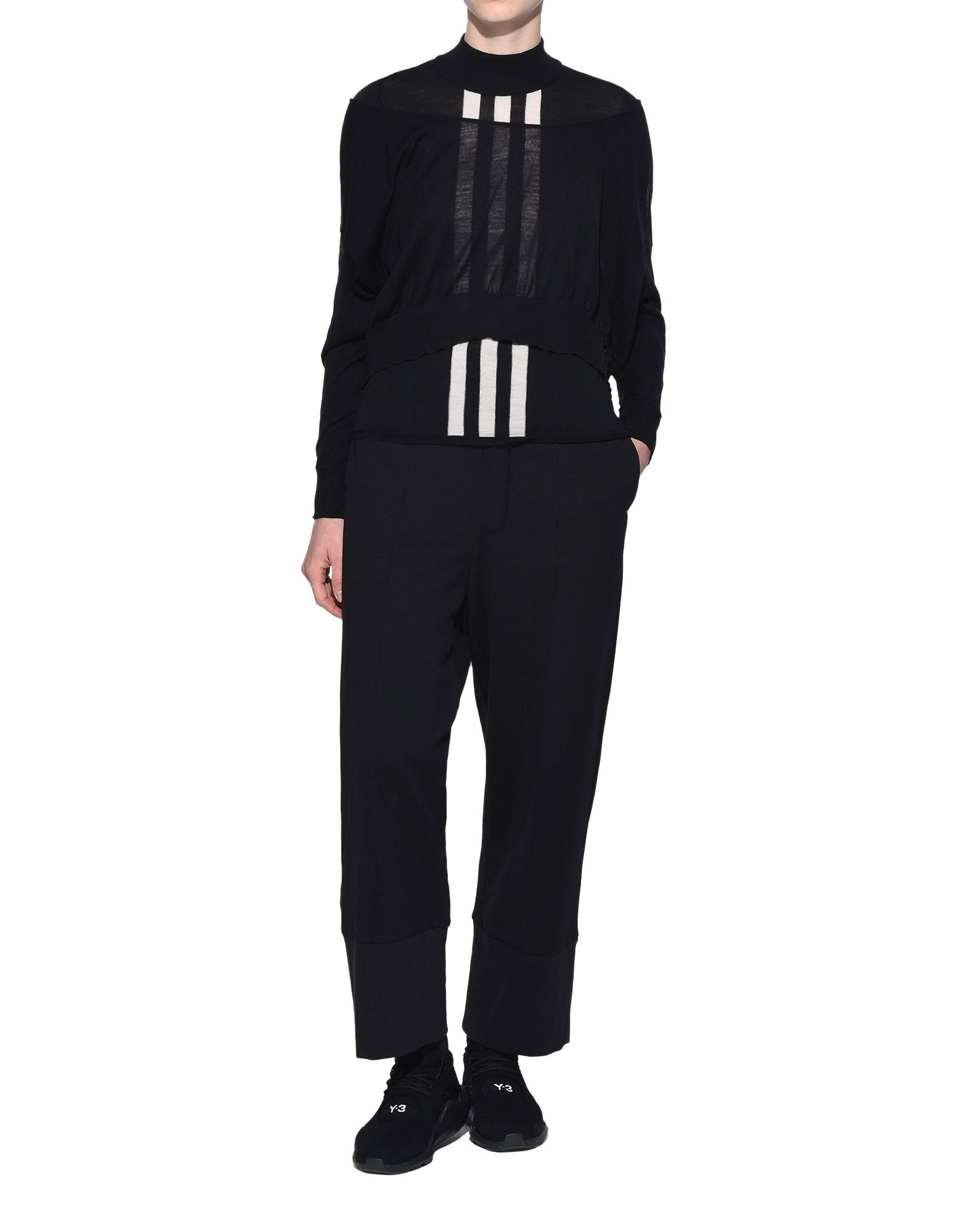 Y-3 Y-3 Layered Knitted Cropped Sweater Long sleeve jumper Woman a