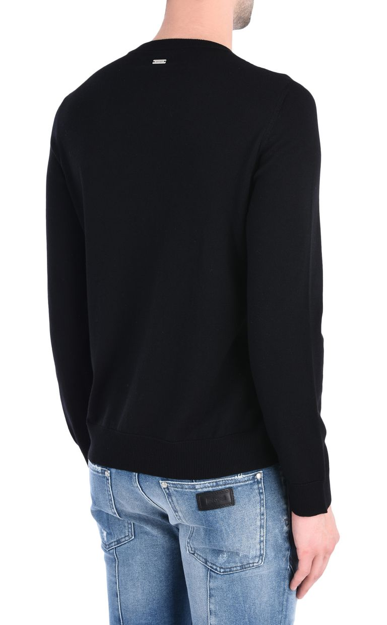 JUST CAVALLI Pullover with 3D-effect Just logo Crewneck sweater Man d