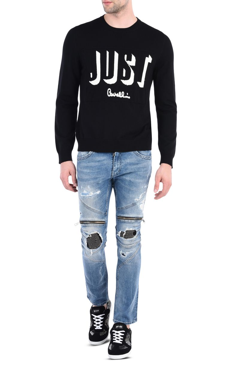 JUST CAVALLI Pullover with 3D-effect Just logo Crewneck sweater [*** pickupInStoreShippingNotGuaranteed_info ***] r