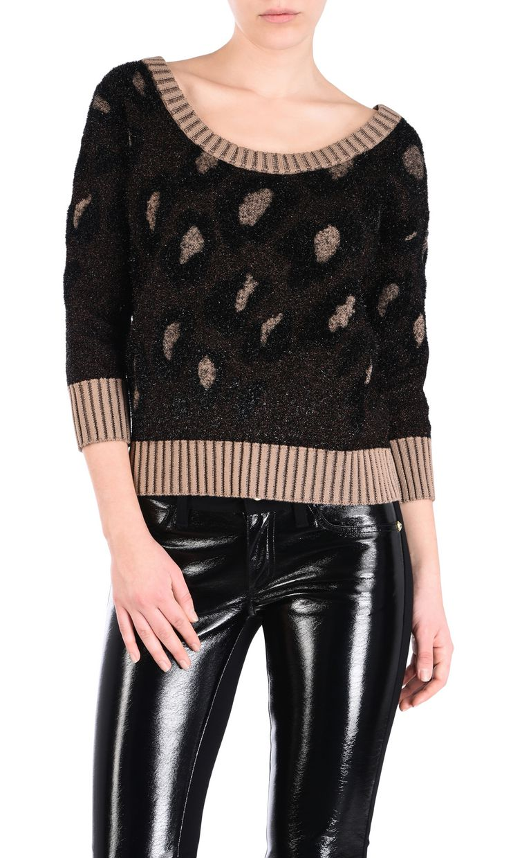 JUST CAVALLI Leopard-print pullover Short sleeve sweater [*** pickupInStoreShipping_info ***] f