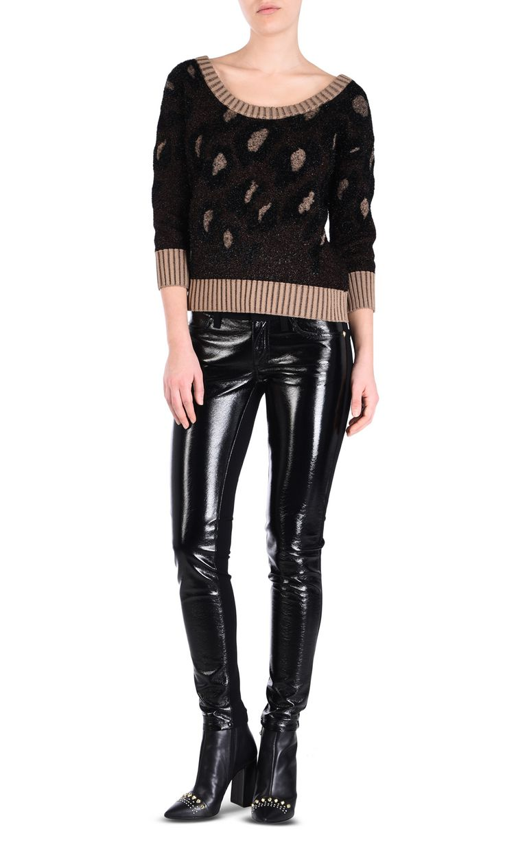 JUST CAVALLI Leopard-print pullover Short sleeve sweater Woman r