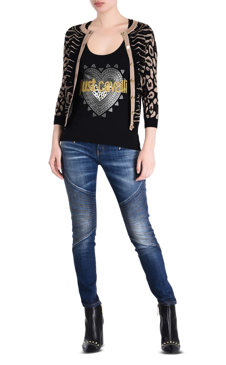 JUST CAVALLI Black cardigan with gold details Cardigan [*** pickupInStoreShipping_info ***] r