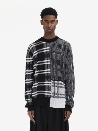 Patchwork Check Crew-Neck Sweater