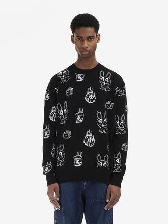 Pullover mit Rundhalsausschnitt und Bunny-Sticker