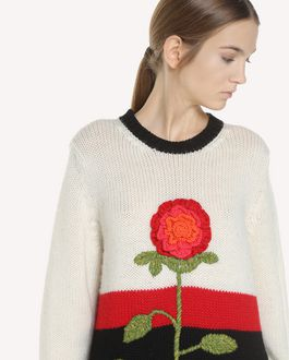 REDValentino Flower-crochet wool sweater