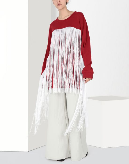 MM6 MAISON MARGIELA Fringed jersey sweatshirt Sweatshirt [*** pickupInStoreShipping_info ***] f