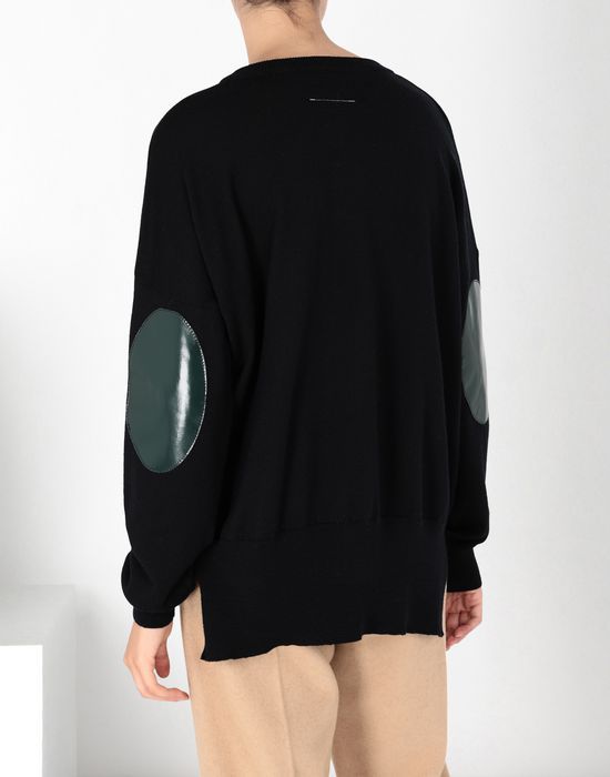 MM6 MAISON MARGIELA Laminated patched wool knit pullover Long sleeve sweater [*** pickupInStoreShipping_info ***] d