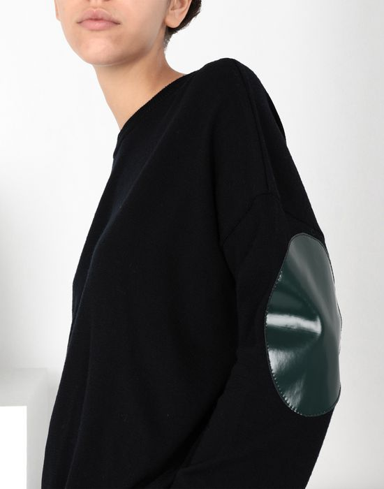 MM6 MAISON MARGIELA Laminated patched wool knit pullover Long sleeve sweater [*** pickupInStoreShipping_info ***] e