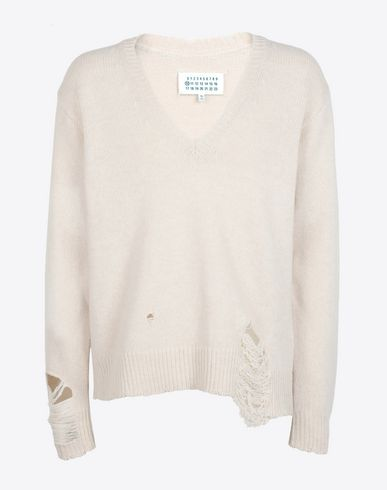 MAISON MARGIELA V-neck Man Wool deep v-neck sweater f