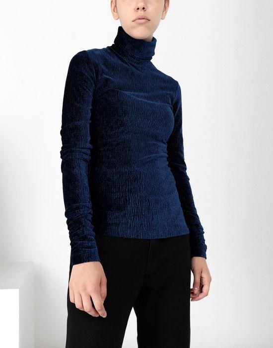 MM6 MAISON MARGIELA Velvet jersey polo neck top Top [*** pickupInStoreShipping_info ***] f