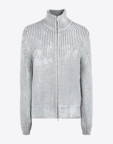 MAISON MARGIELA カーディガン メンズ Zip-up rib painted knit sweater f