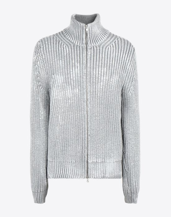 MAISON MARGIELA Zip-up rib painted knit sweater Cardigan [*** pickupInStoreShippingNotGuaranteed_info ***] f