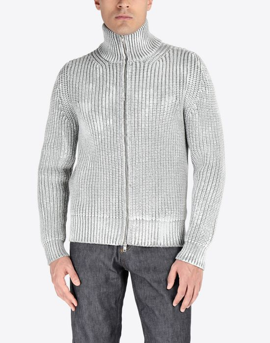 MAISON MARGIELA Zip-up rib painted knit sweater Cardigan [*** pickupInStoreShippingNotGuaranteed_info ***] r
