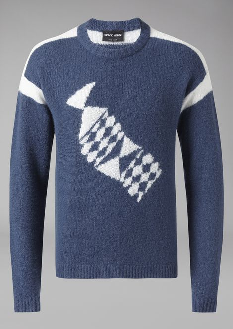 Sweater in cashmere and silk with central inlay