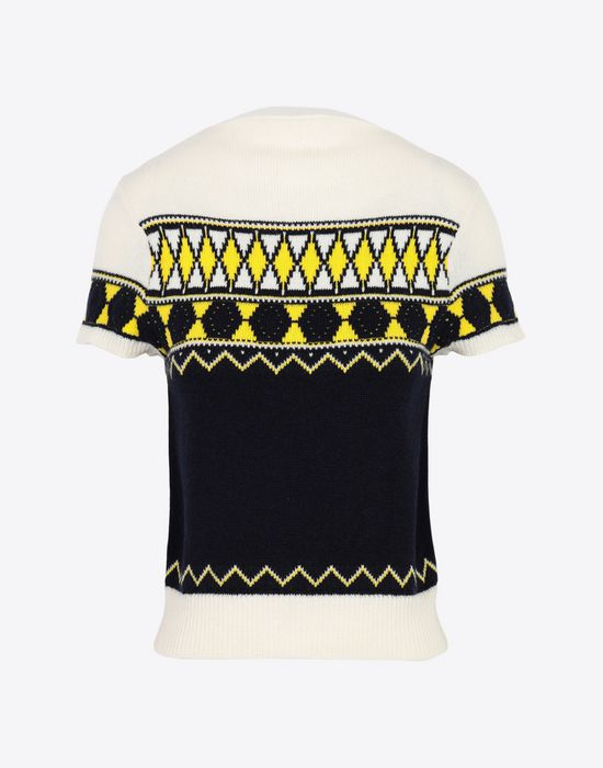 MAISON MARGIELA Cropped knitted top Short sleeve sweater [*** pickupInStoreShipping_info ***] f