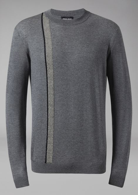 Sweater in virgin wool and cashmere with chevron detail