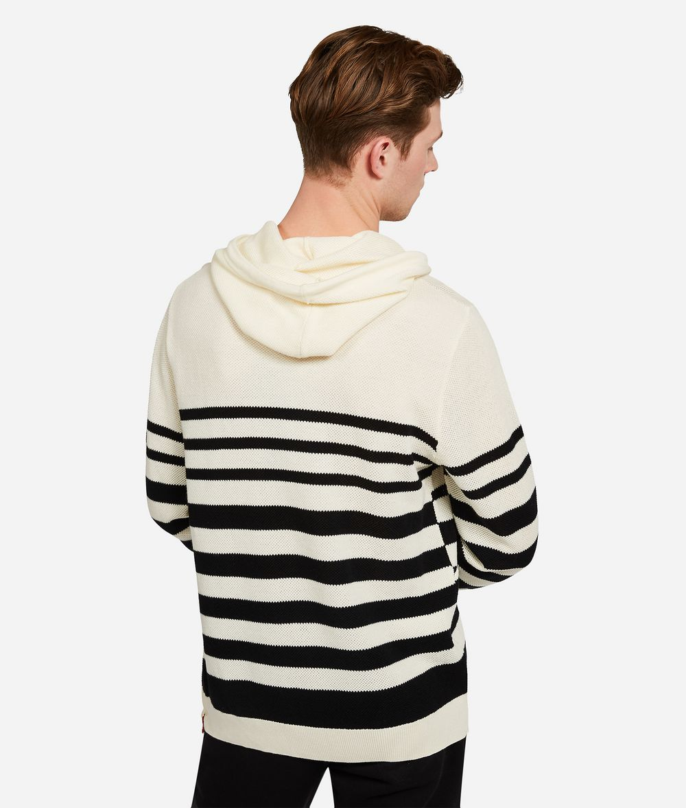 KARL LAGERFELD Wool Cotton Stripe Hoodie Sweater Man d