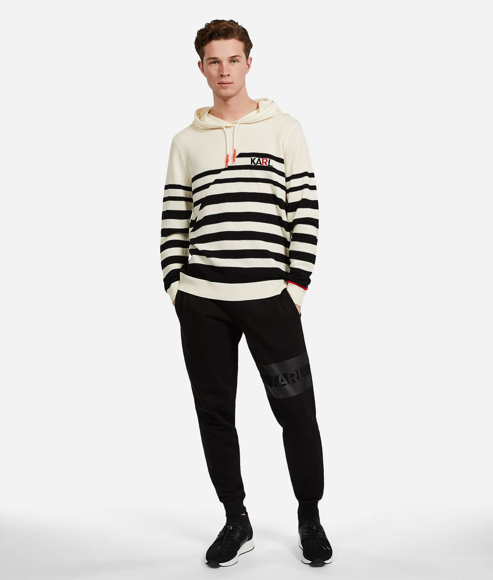 KARL LAGERFELD Wool Cotton Stripe Hoodie Sweater Man f
